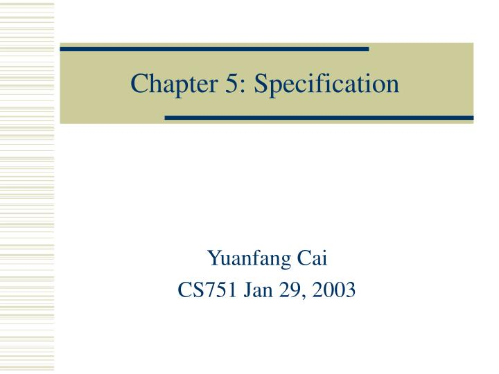 Chapter 5 specification