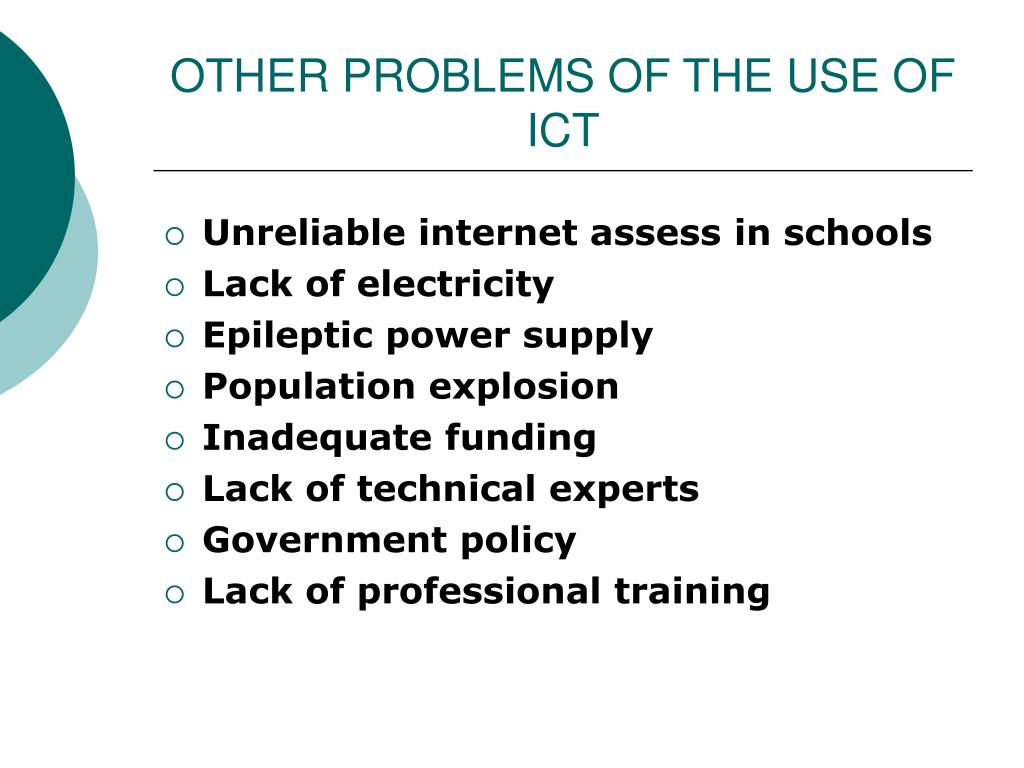 OTHER PROBLEMS OF THE USE OF ICT