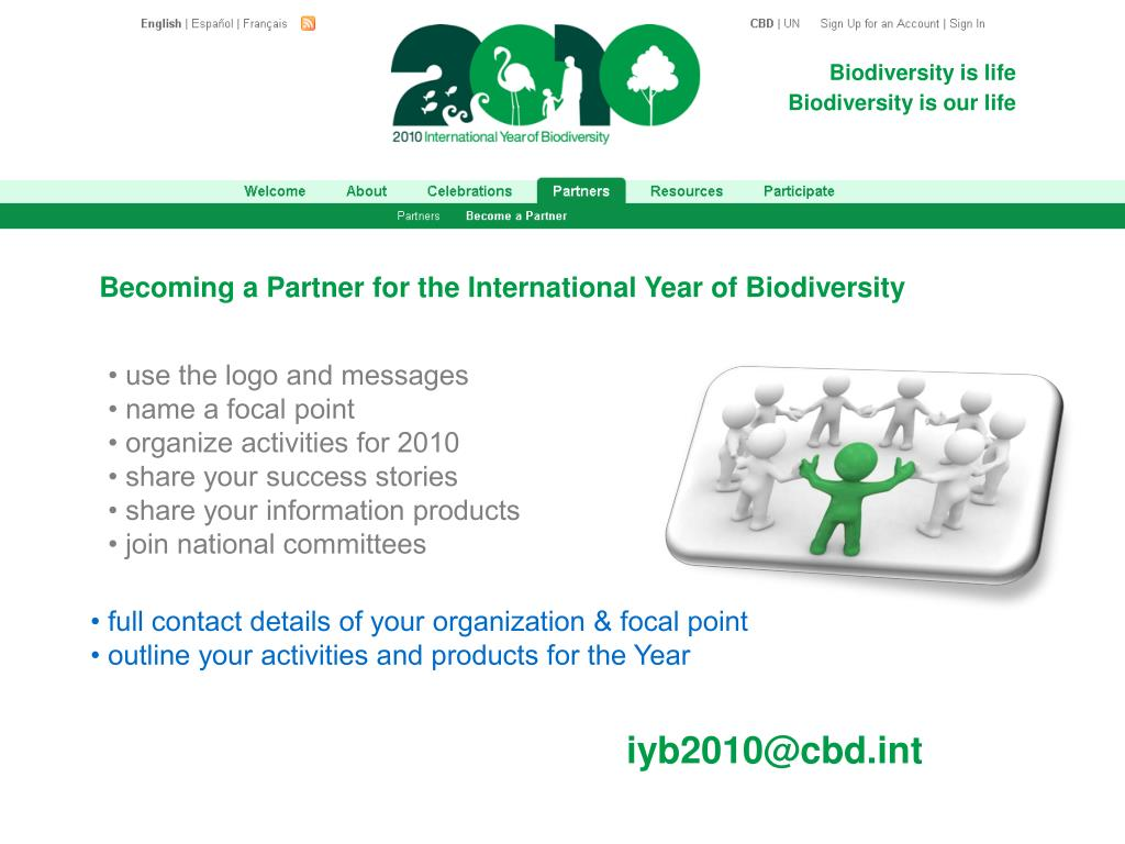 Becoming a Partner for the International Year of Biodiversity