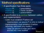 method specifications