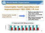 catastrophic health expenditure and impoverishment 1995 2002 i r iran