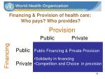 financing provision of health care who pays who provides