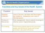 functions and key issues of the health system