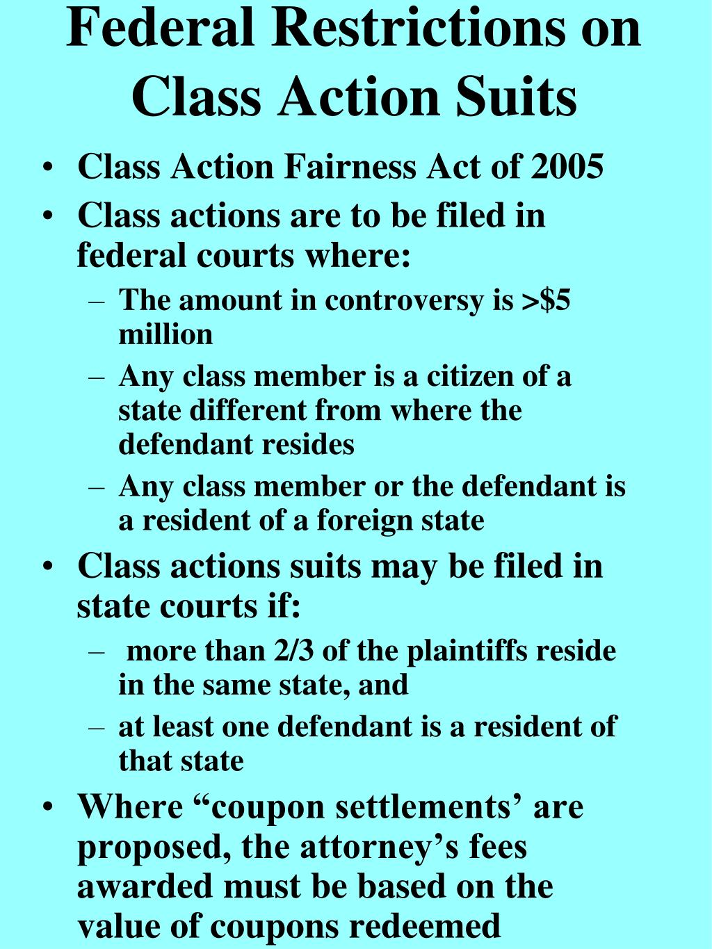 Federal Restrictions on Class Action Suits