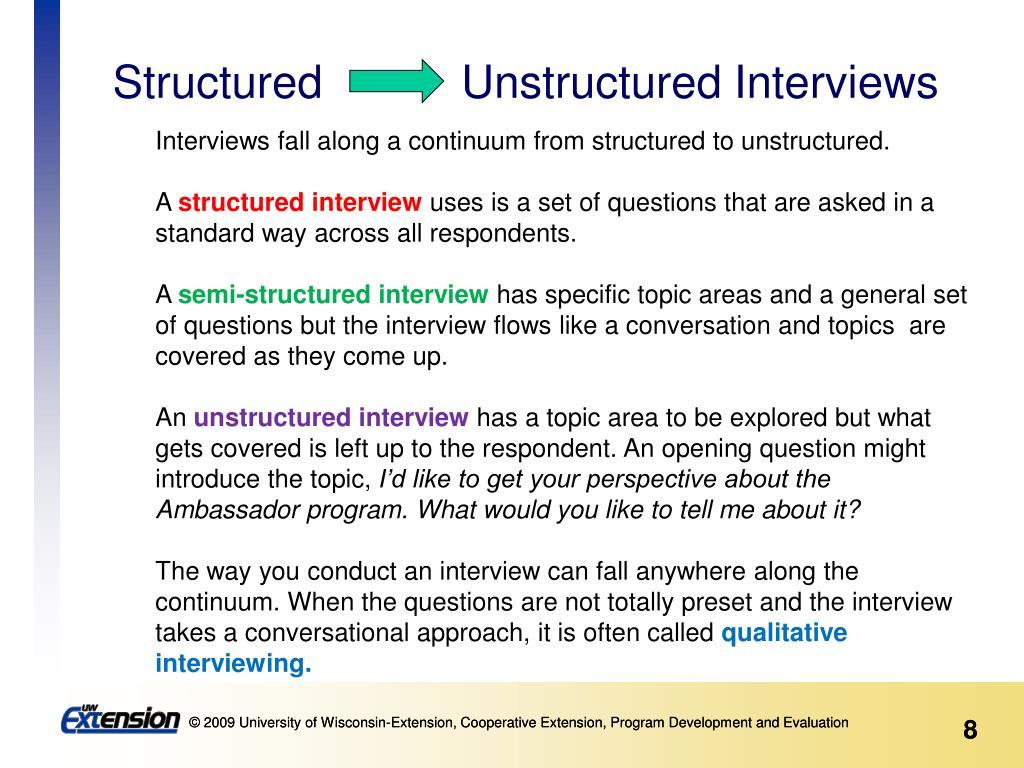 Structured           Unstructured Interviews