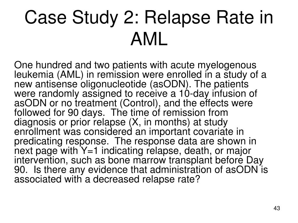 Case Study 2: Relapse Rate in AML