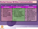 verbal versus written communication