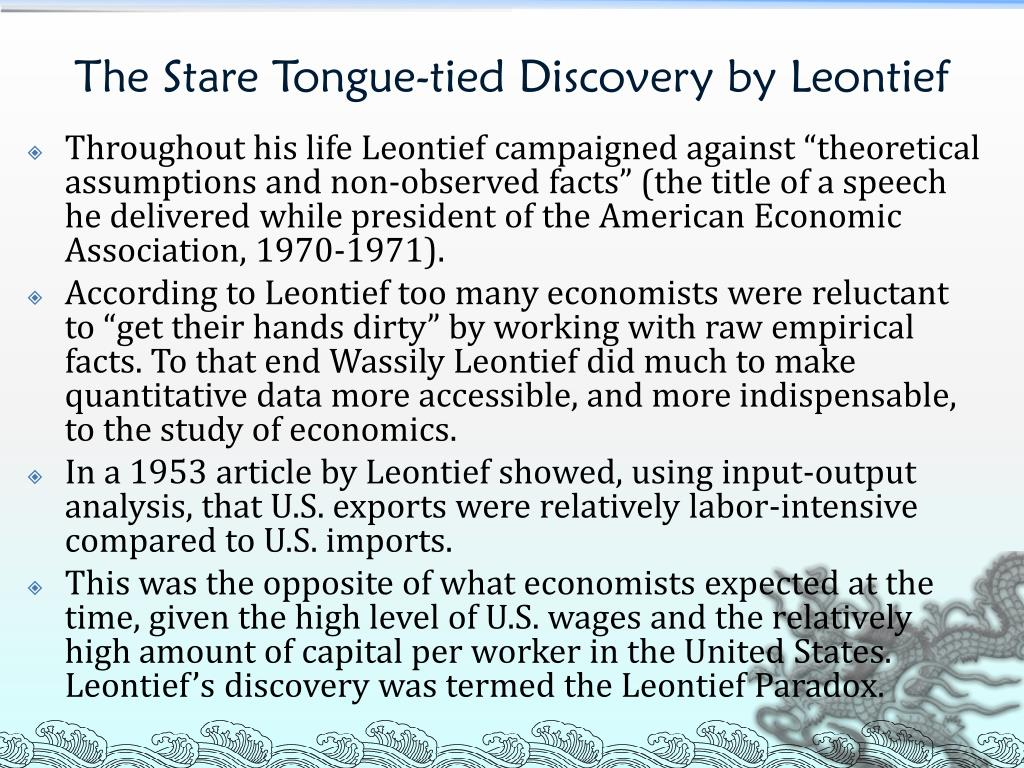 the leontief paradox and the new