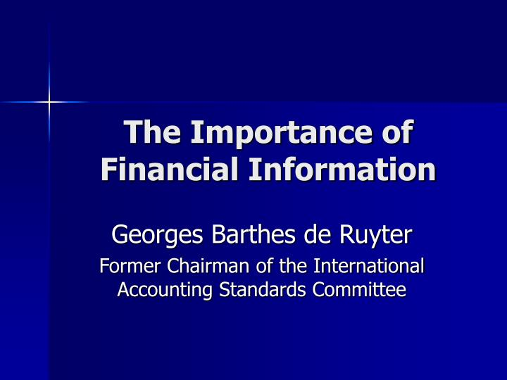 The importance of financial information