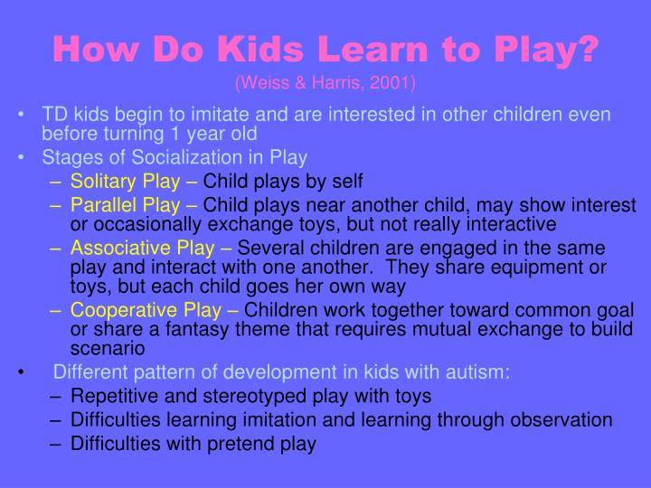How do kids learn to play weiss harris 2001