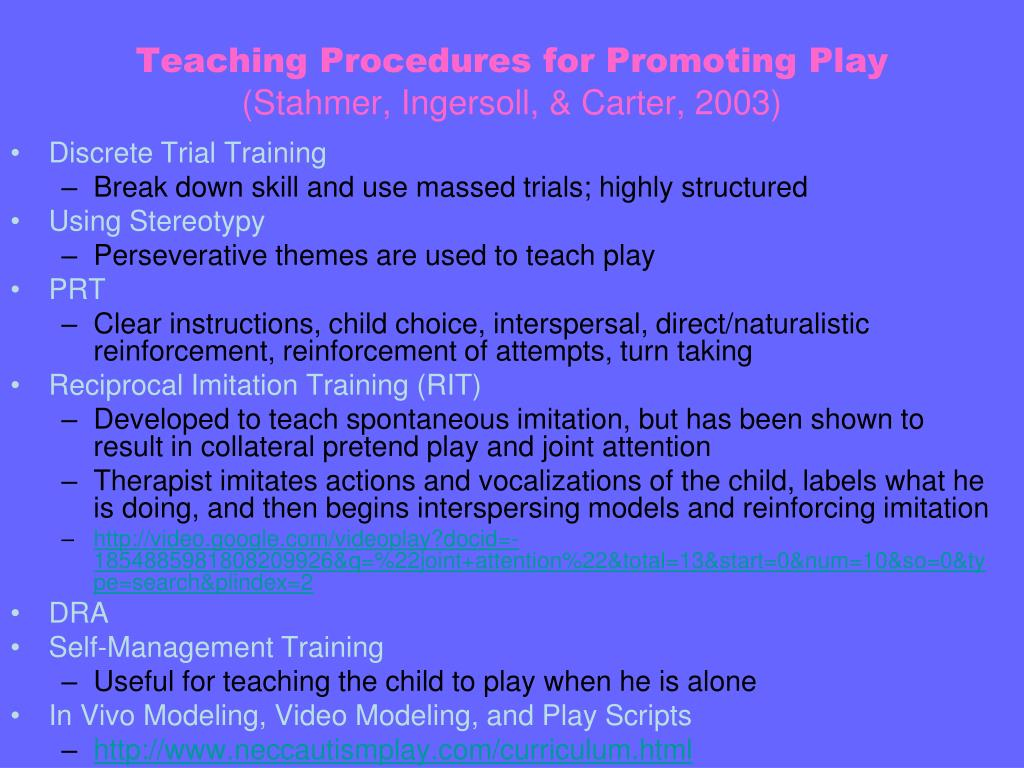 Teaching Procedures for Promoting Play