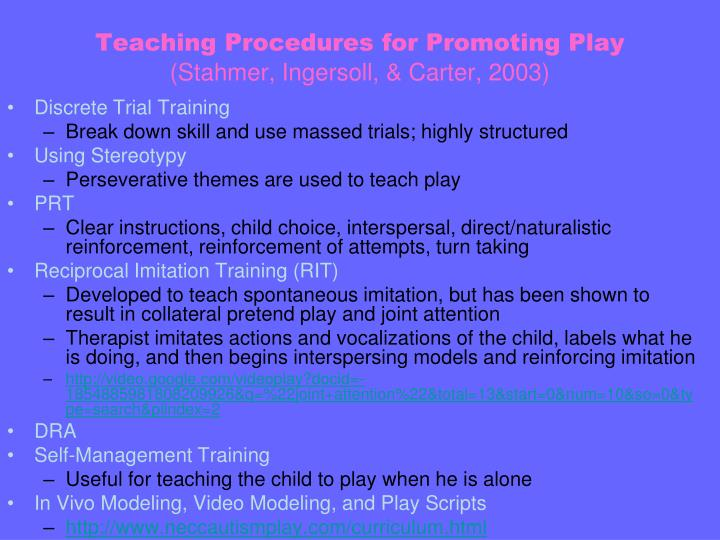 Teaching procedures for promoting play stahmer ingersoll carter 2003