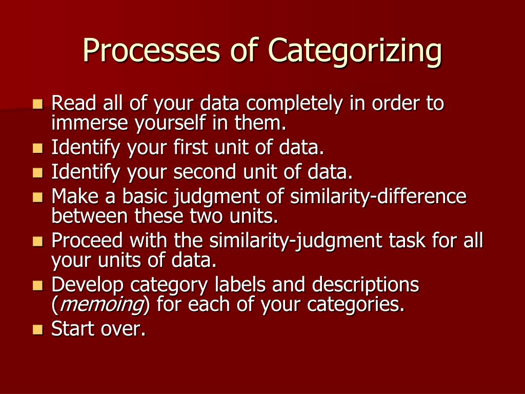 Processes of Categorizing