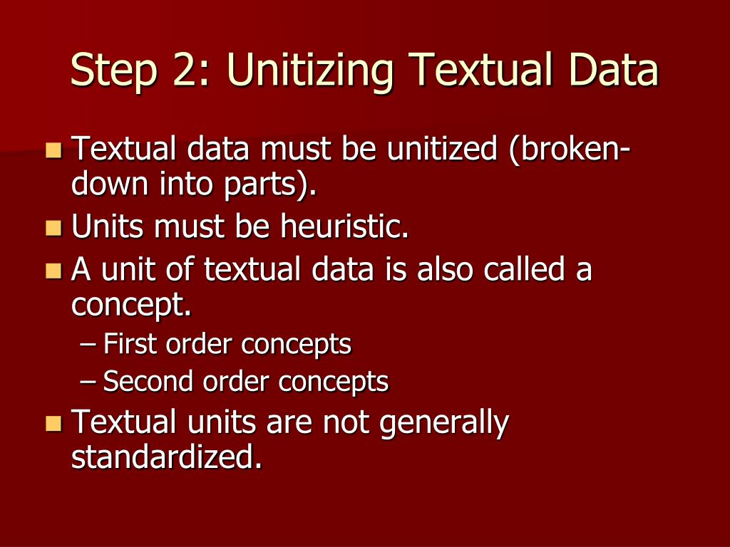 Step 2: Unitizing Textual Data