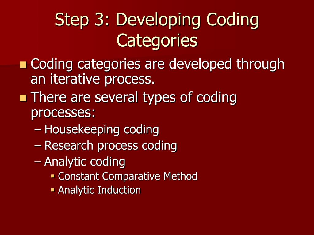 Step 3: Developing Coding Categories