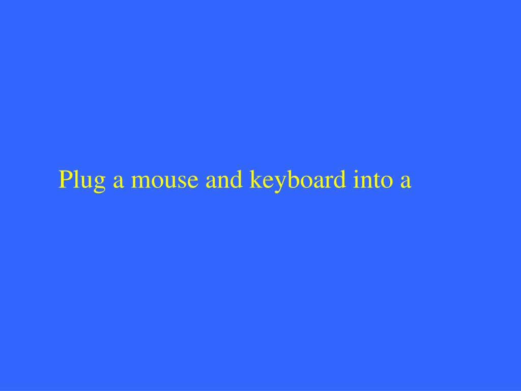 Plug a mouse and keyboard into a