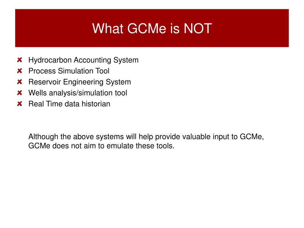 What GCMe is NOT
