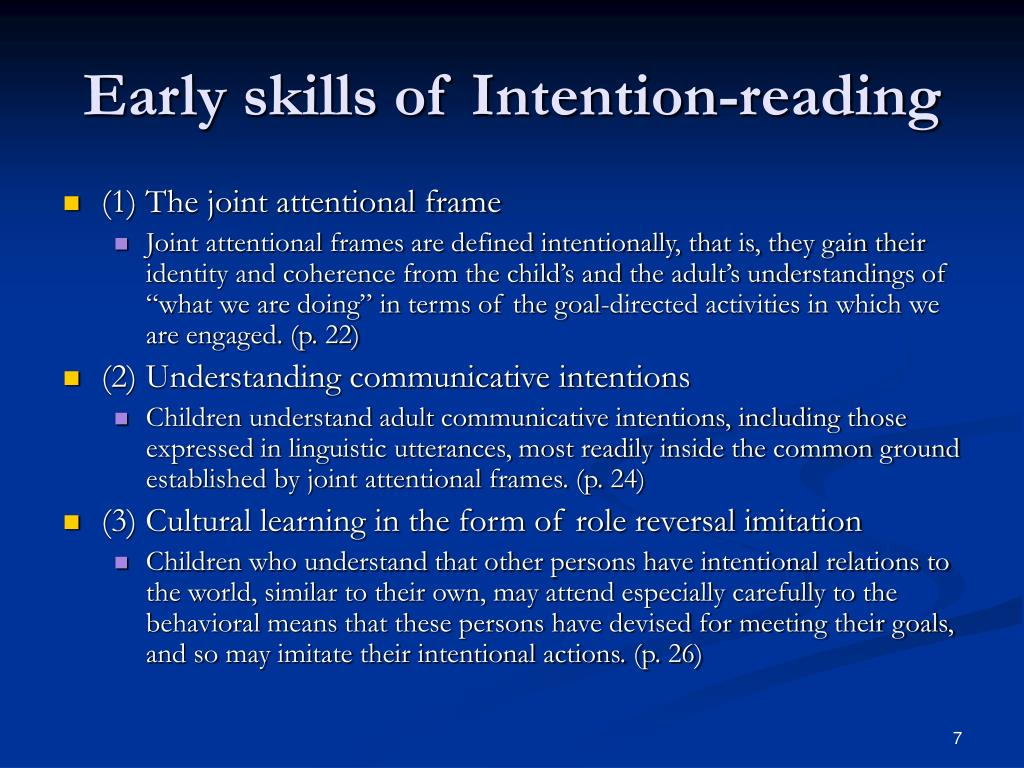 Early skills of Intention-reading