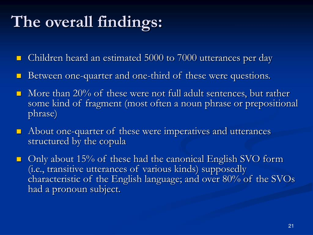 The overall findings: