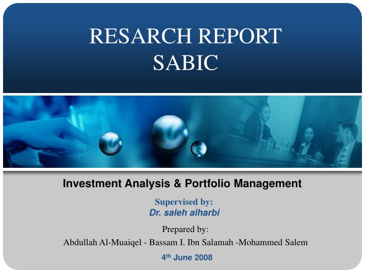 Resarch report sabic