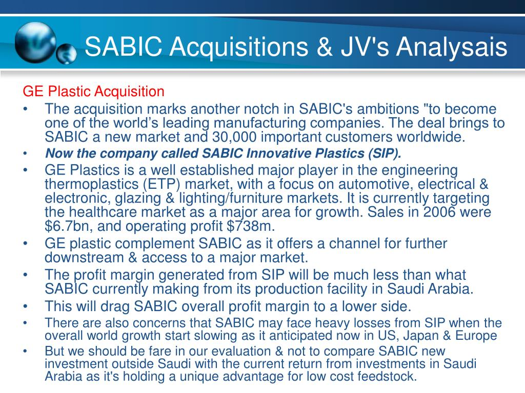 SABIC Acquisitions & JV's Analysais