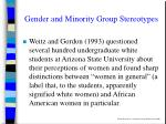 gender and minority group stereotypes
