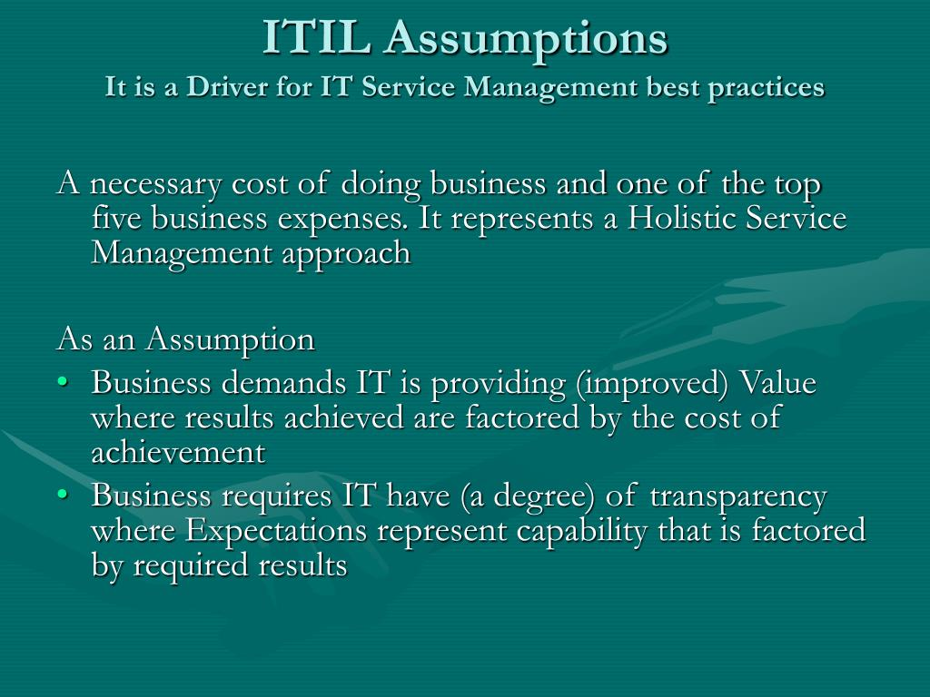 ITIL Assumptions