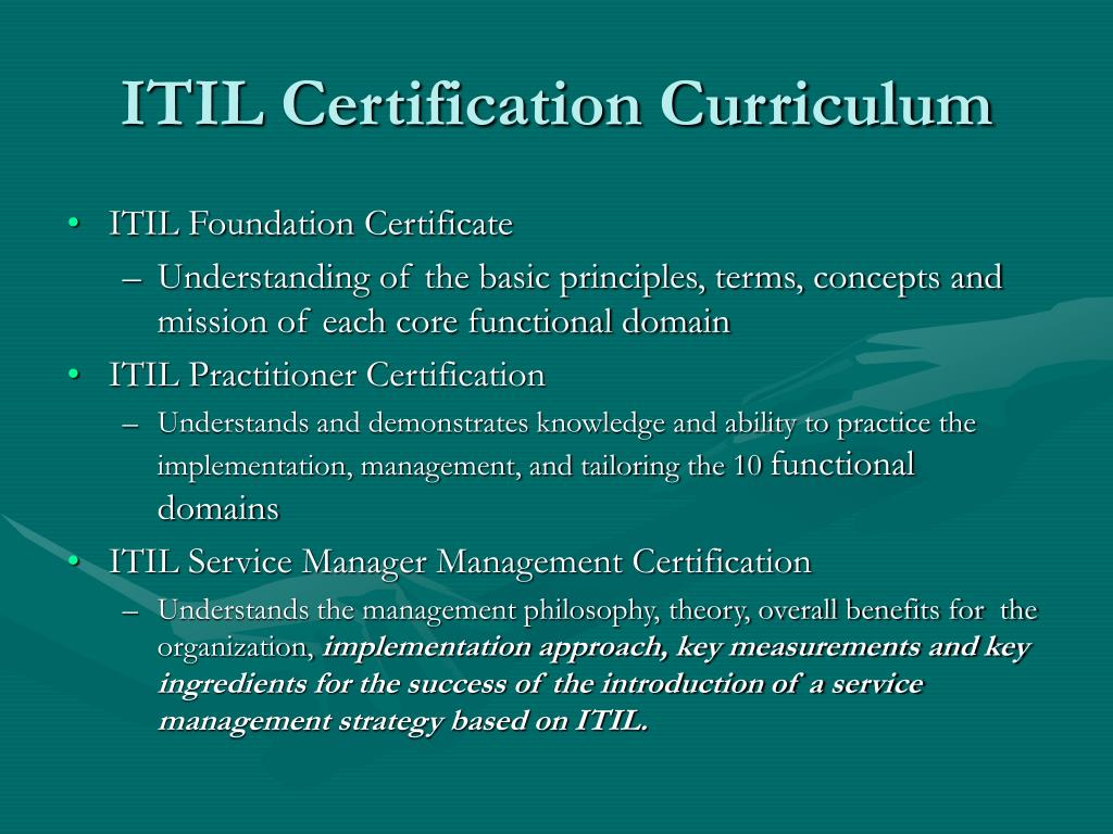 ITIL Certification Curriculum