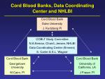 cord blood banks data coordinating center and nhlbi