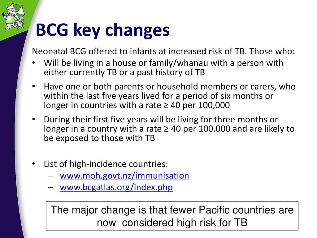 BCG key changes