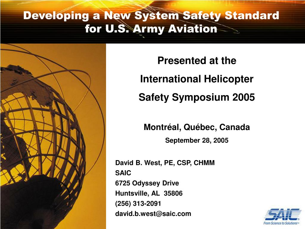 developing a new system safety standard for u s army aviation l.