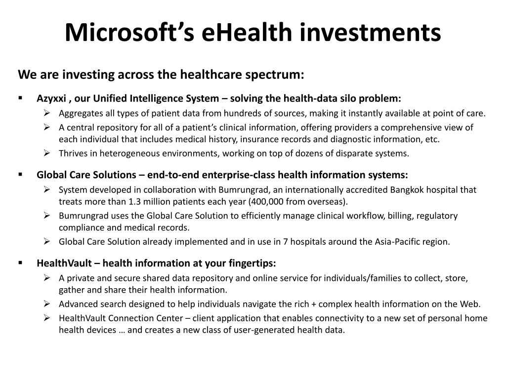 Microsoft's eHealth investments