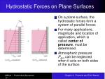 hydrostatic forces on plane surfaces