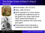 the golden crown of hiero ii king of syracuse