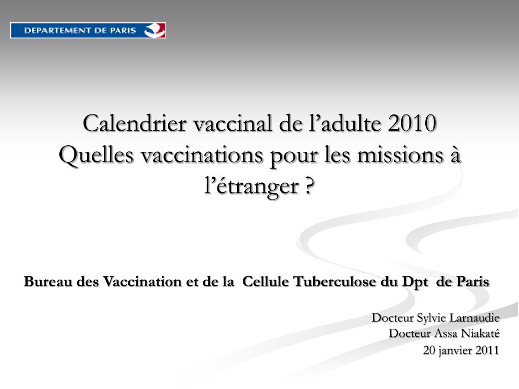 Calendrier vaccinal de l'adulte 2010