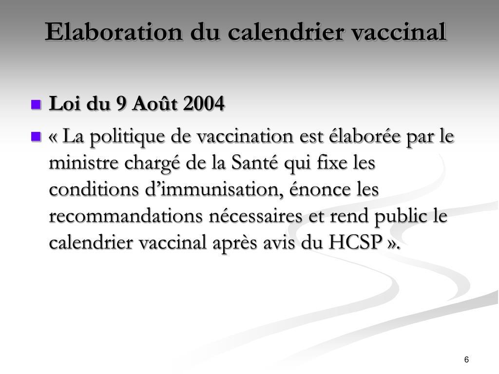 Elaboration du calendrier vaccinal