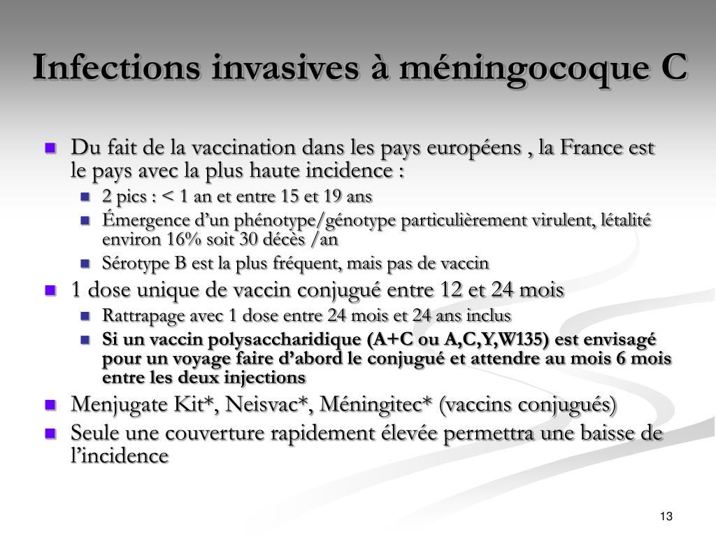 Infections invasives à méningocoque C