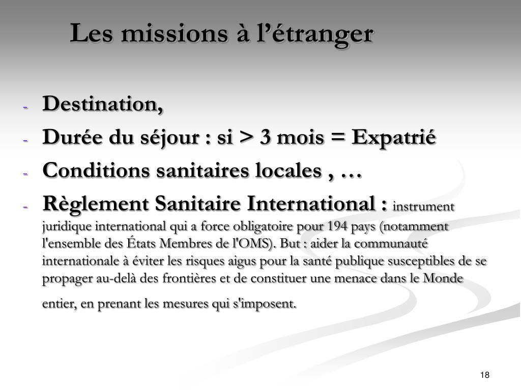 Les missions à l'étranger