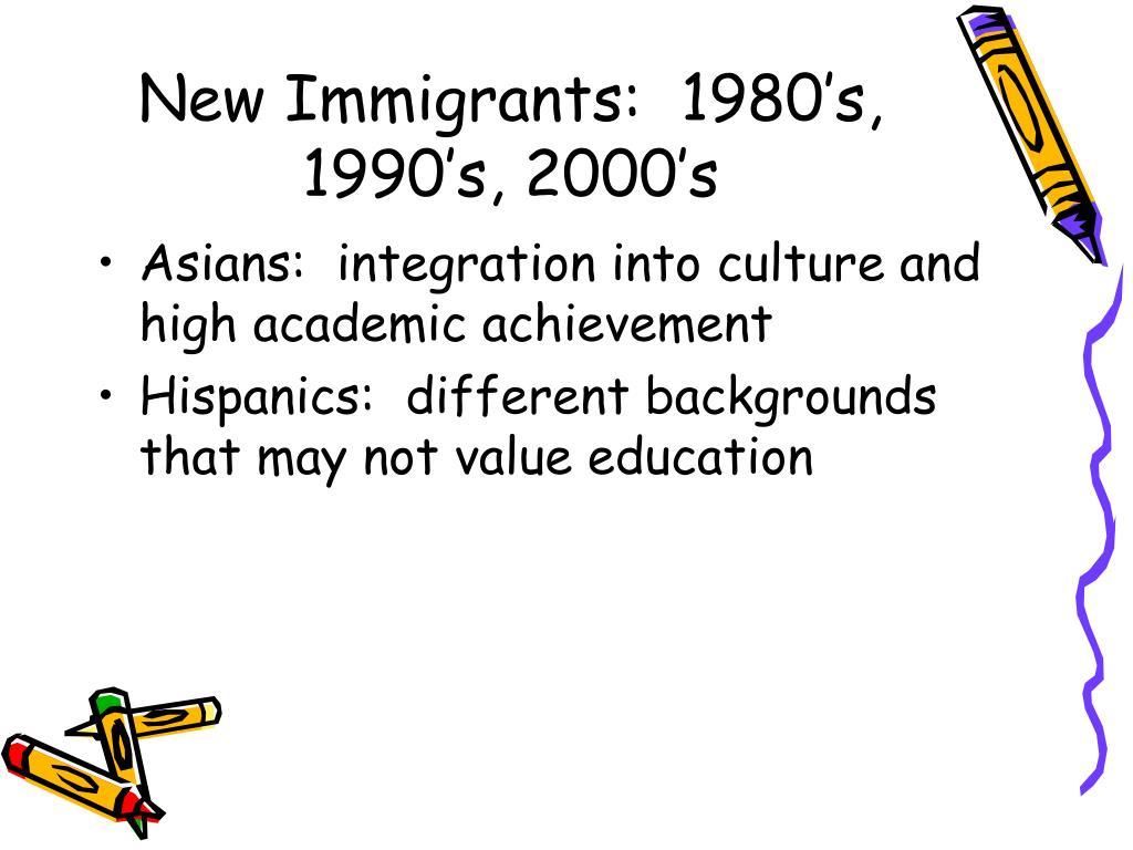 New Immigrants:  1980's, 1990's, 2000's