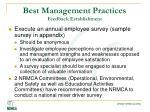 best management practices feedback establishment