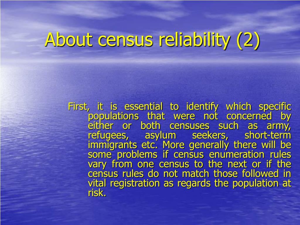 About census reliability (2)