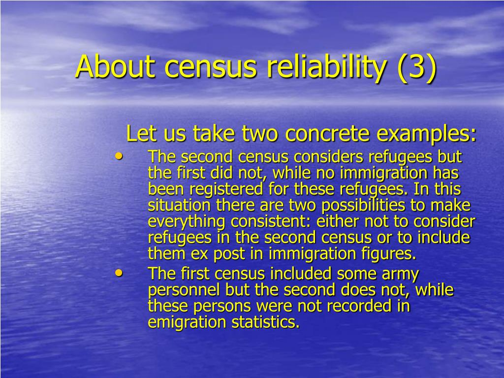 About census reliability (3)