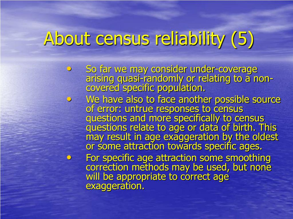 About census reliability (5)