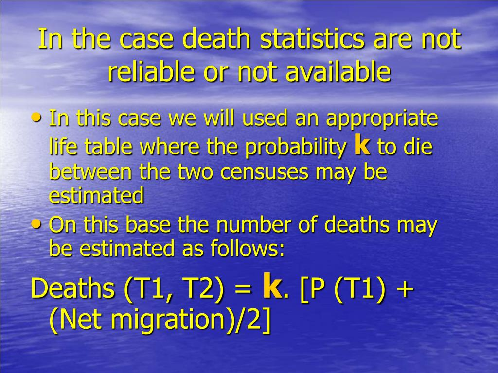 In the case death statistics are not reliable or not available