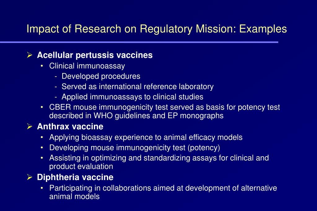 Impact of Research on Regulatory Mission: Examples