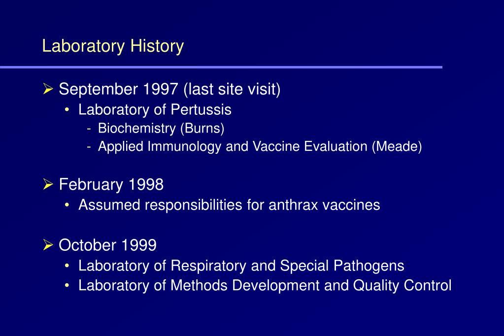 Laboratory History