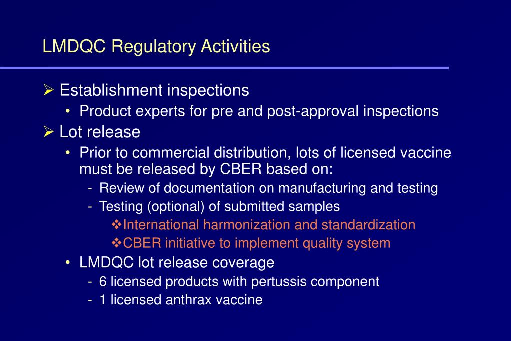 LMDQC Regulatory Activities