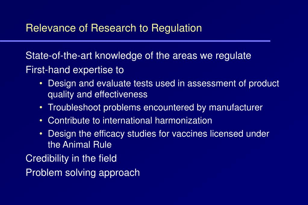 Relevance of Research to Regulation