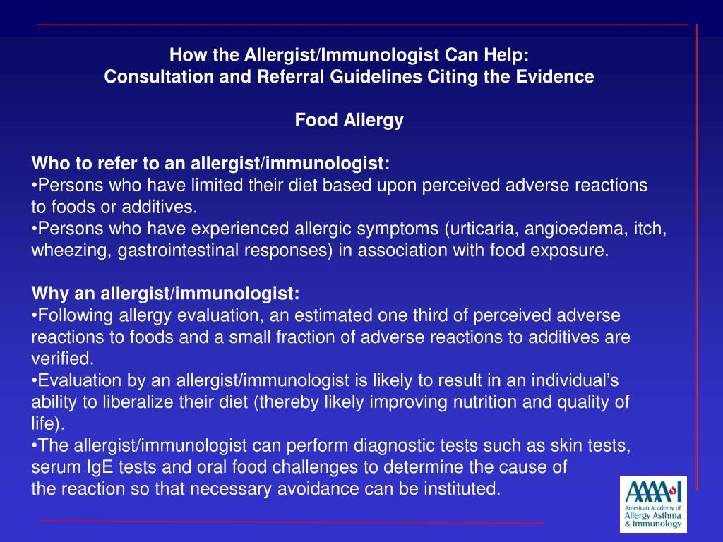 How the Allergist/Immunologist Can Help:
