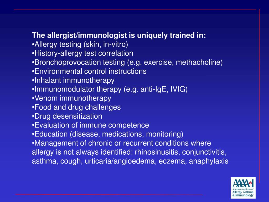 The allergist/immunologist is uniquely trained in: